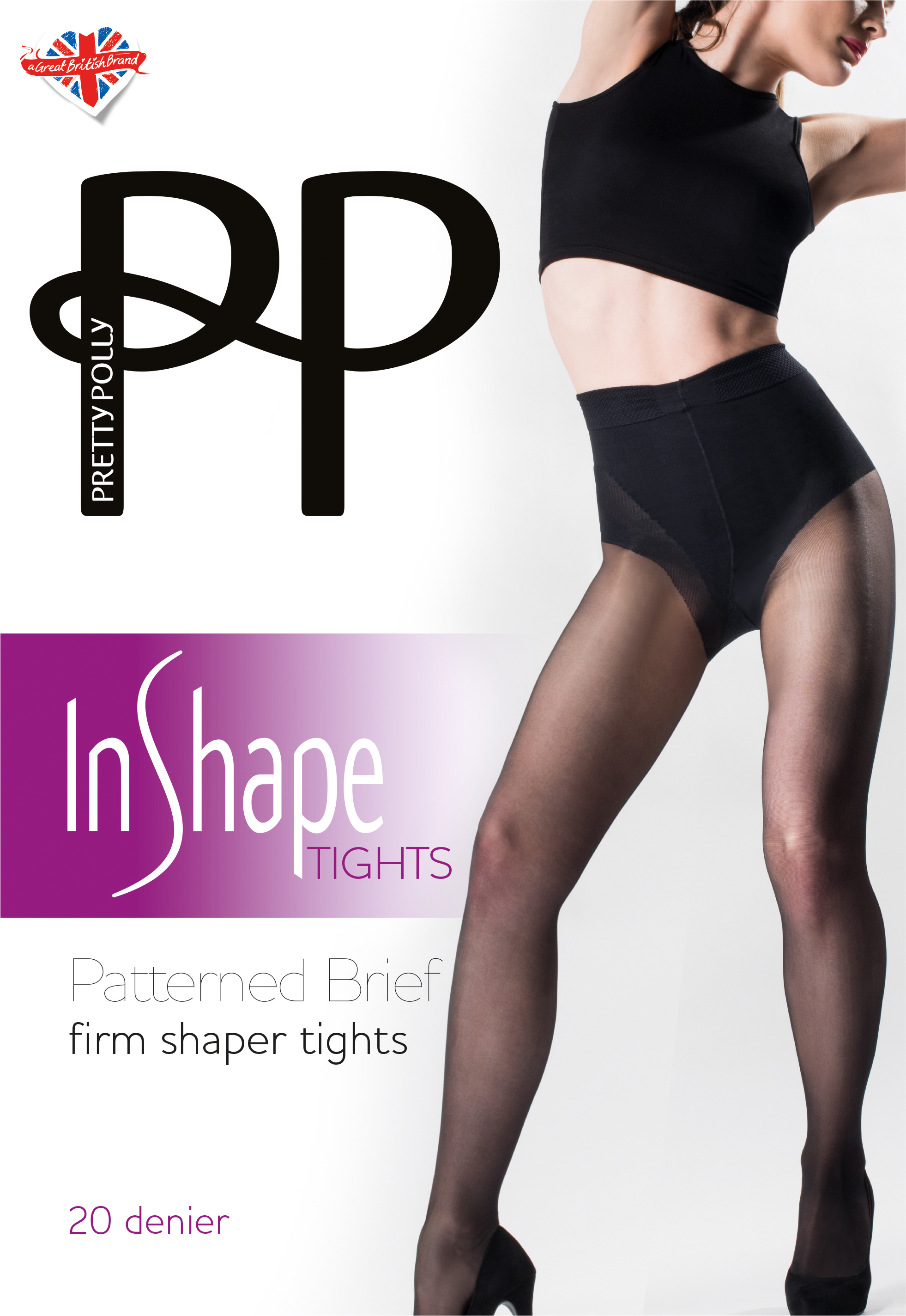 58bc24447 Pretty Polly In Shape Firm Shaper Tights Patterned Brief 20 Denier ...